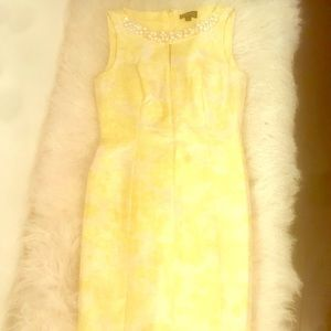 Tahari yellow metallic print pearl & beaded dress.